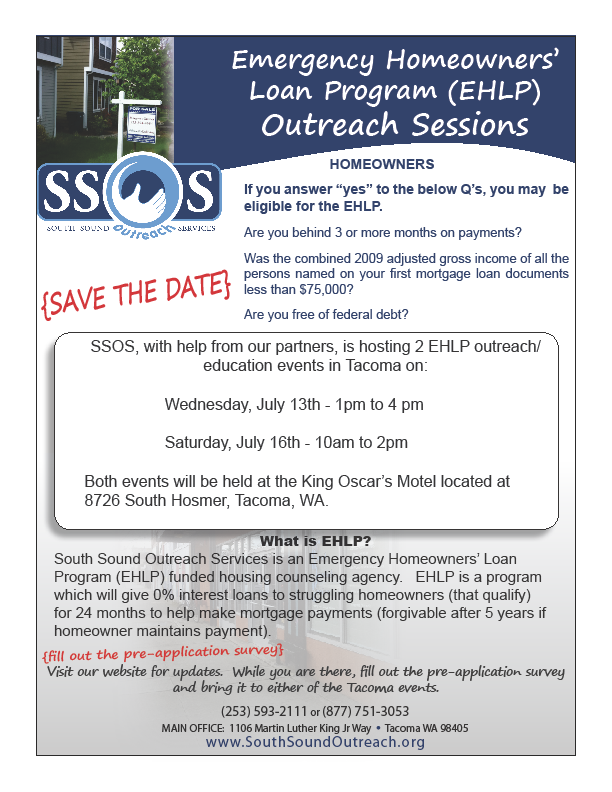 Emergency homeowners loan program tacoma wa outreach for Fish food bank tacoma