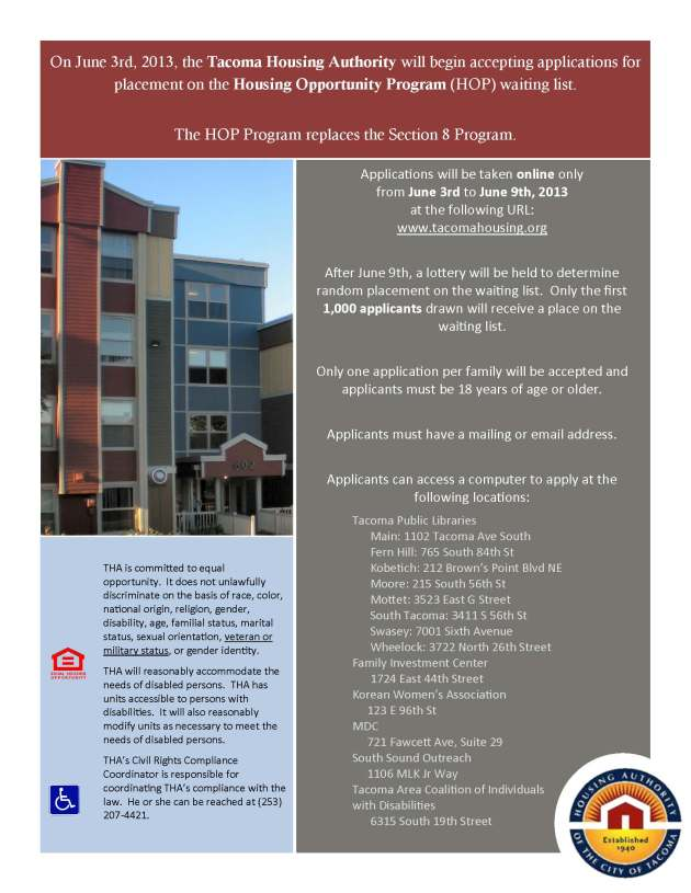 Opening of the Housing Opportunity Program (HOP) waitlist ...